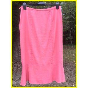 Salmon Pink Linen blend Skirt